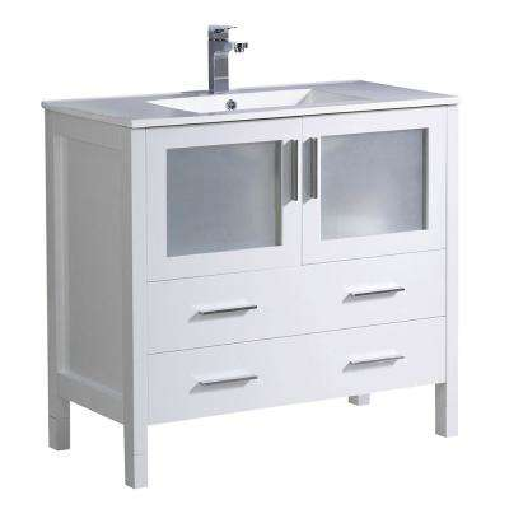 Torino 36 in. Bath Vanity in White with Ceramic Vanity Top in White with White Basin