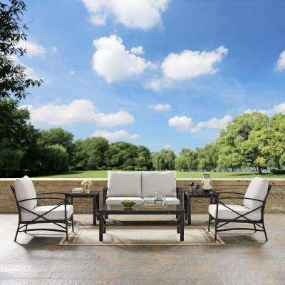 Kaplan 6-Piece Metal Outdoor Seating Set with Oatmeal Cushions