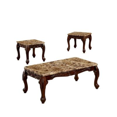 Lechester 3-Piece Traditional Style Table Set in Dark Oak and Ivory