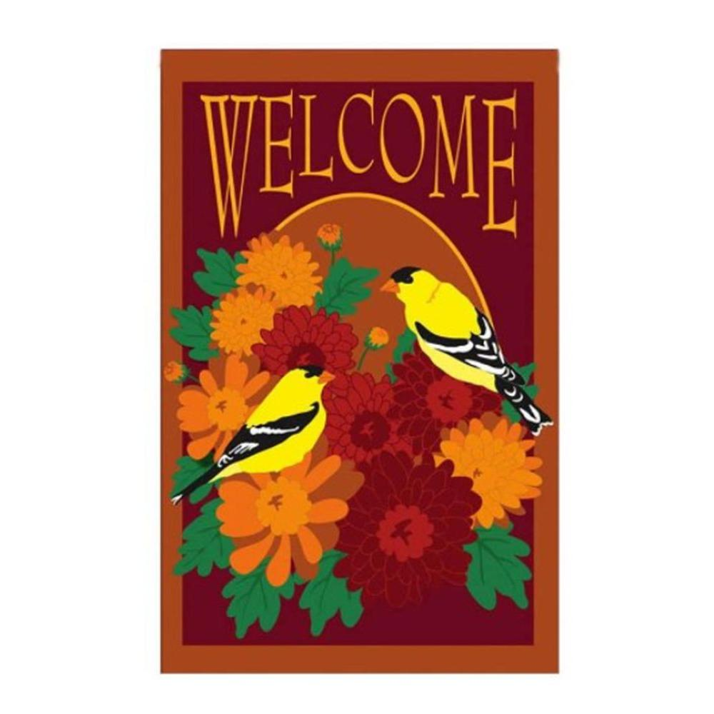 Evergreen 1 ft. x 1-1/2 ft. Applique Floral Welcome Flag