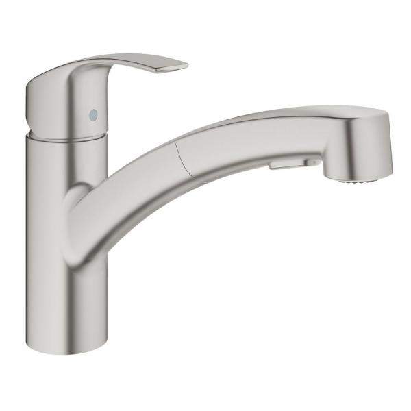 Grohe America, Inc. 30 306 Grohe 30 306 Eurosmart Pull-Out Spray Kitchen Faucet with SilkMove - SuperSteel