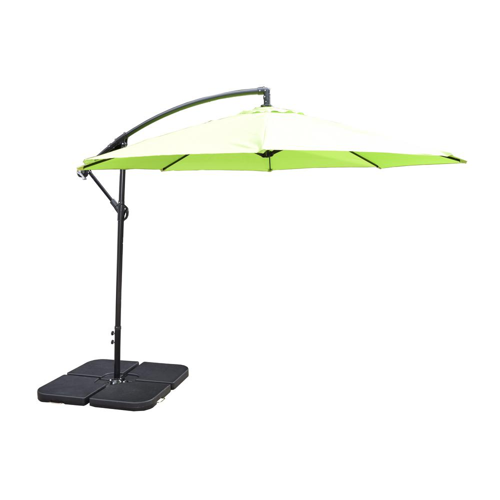 Superieur 10 Ft. Cantilever Patio Umbrella In Lime Green With 4 Piece Fillable  Polyresin Patio