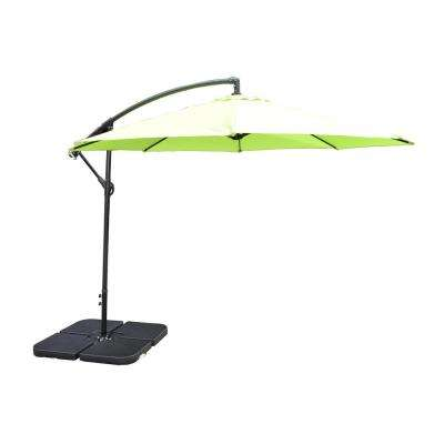 10 ft. Cantilever Patio Umbrella in Lime Green with 4-Piece Fillable Polyresin Patio Umbrella Bases
