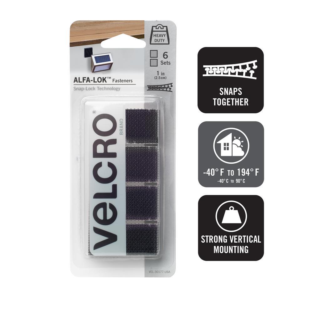 VELCROBrand VELCRO Brand ALFA-LOK 1 in. x 1 in. Squares in Black (6 Sets per Pack)