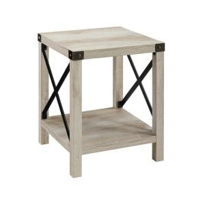 18 in. White Oak Rustic Urban Industrial Metal X Accent Side Table