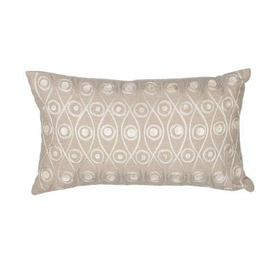 Metallics Tonal Taupe Geometric Hypoallergenic Polyester 12 in. x 20 in. Throw Pillow