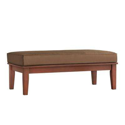 Verdon Gorge Brown Rectangular Wood Outdoor Coffee Table with Brown Cushion