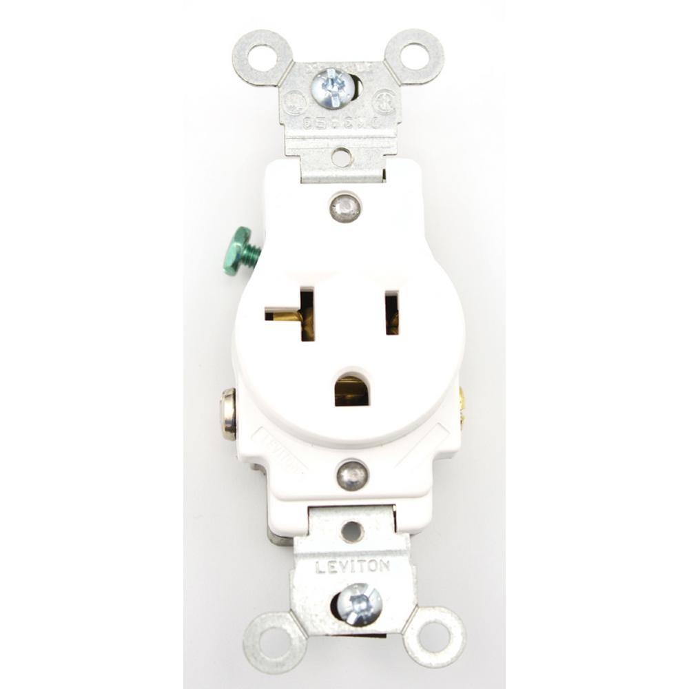 20 Amp Outlet >> Leviton 20 Amp Commercial Grade Grounding Single Outlet White 5801