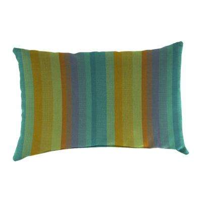 Sunbrella 19 in. x 12 in. Astoria Lagoon Lumbar Outdoor Throw Pillow