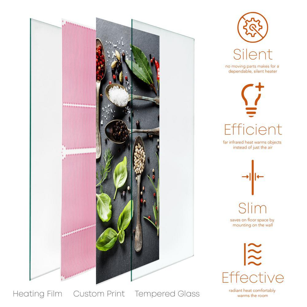 Glass Heater 750-Watt Radiant Wall Hanging Decorative Glass Heat Panel - Condiment