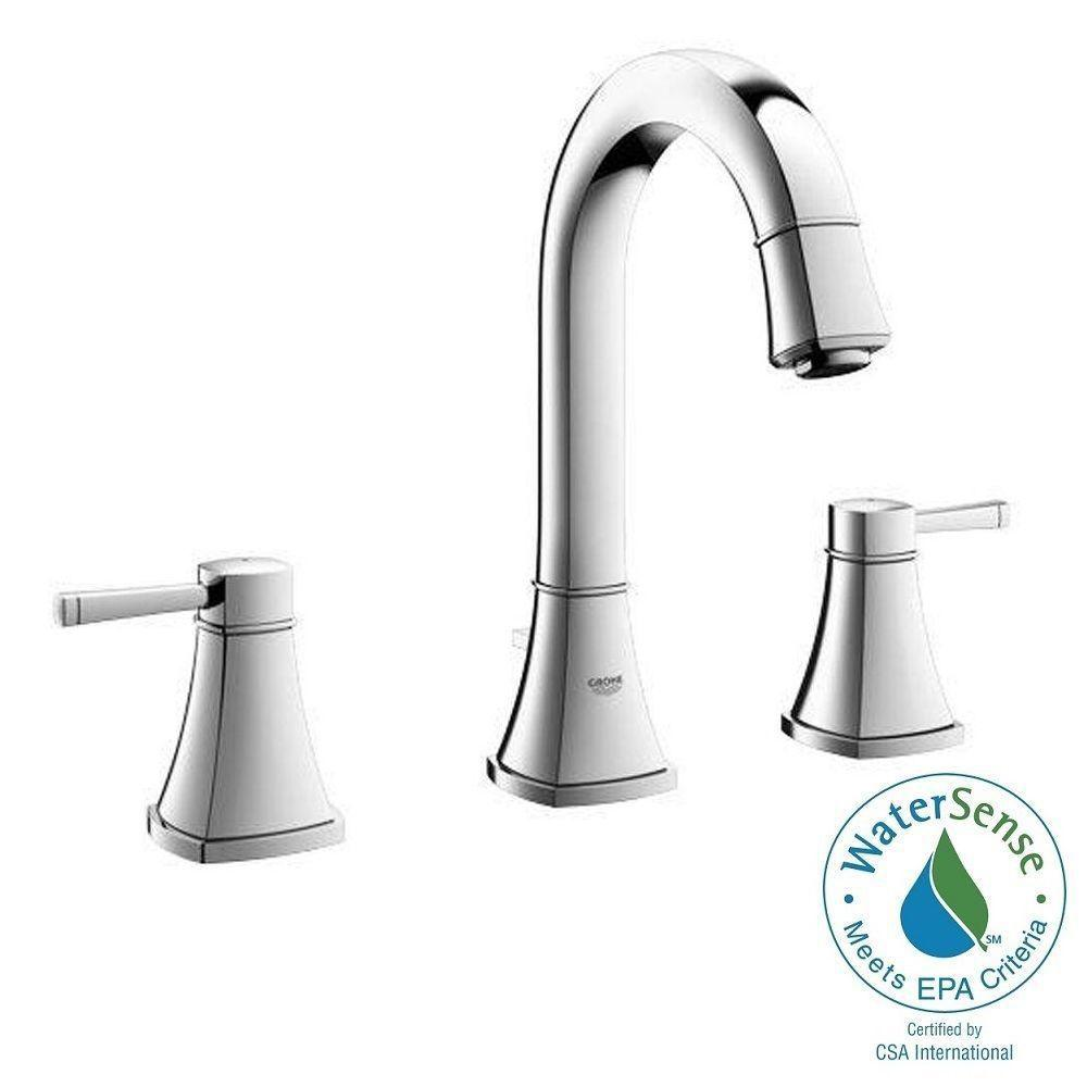 Grandera 8 in. Widespread 2-Handle High Arc Bathroom Faucet in Polished