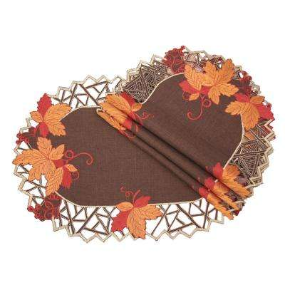 0.1 in. H x 13 in. W x 19 in. D Harvest Hues Embroidered Cutwork Fall Placemats (Set of 4)