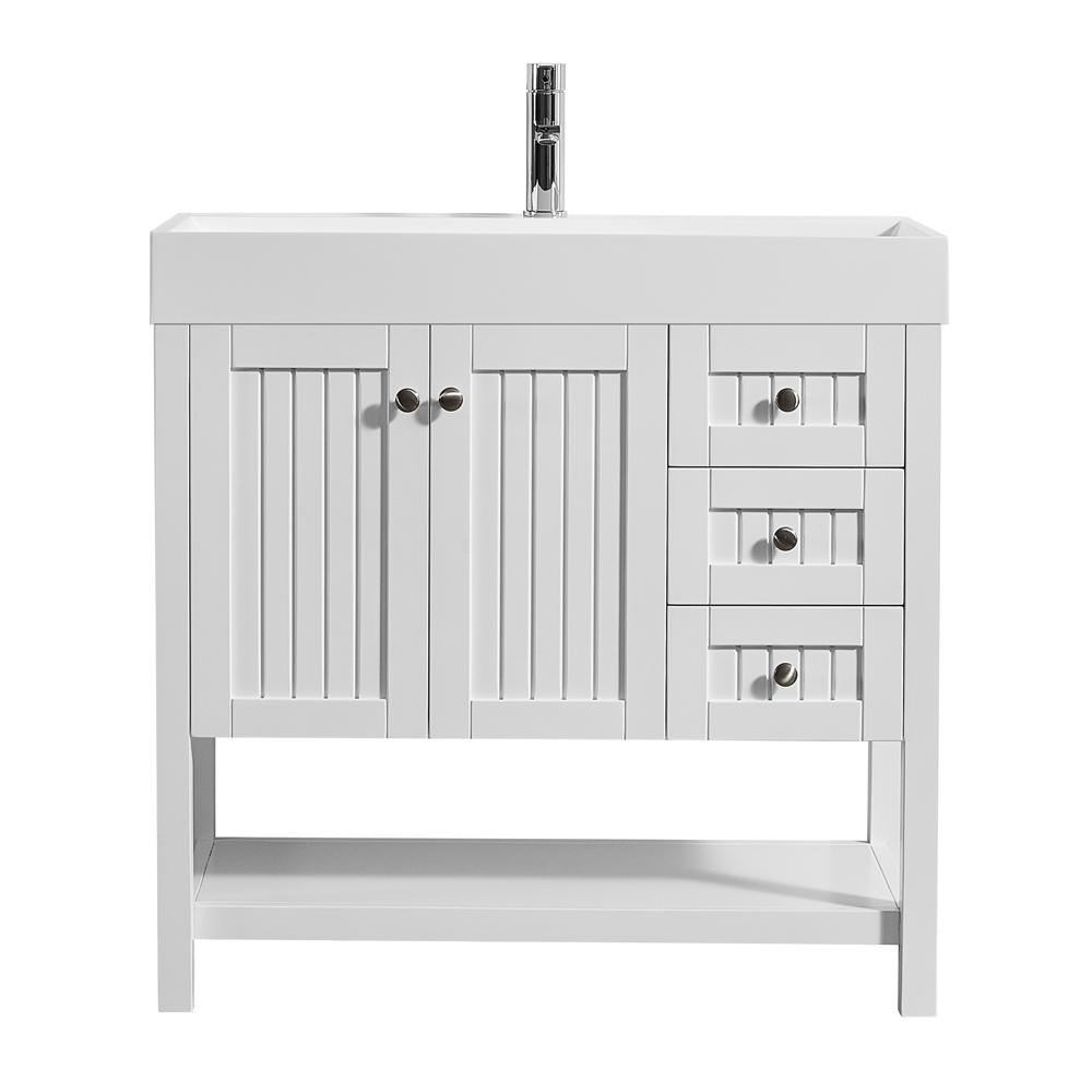 ROSWELL Pavia 36 in. W x 18 in. D Vanity in White with Acrylic Vanity Top in White with White Basin
