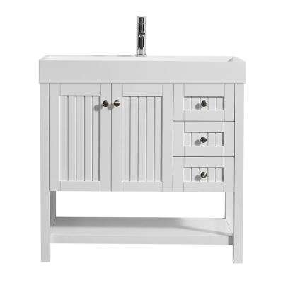 Pavia 36 in. W x 18 in. D Vanity in White with Acrylic Vanity Top in White with White Basin