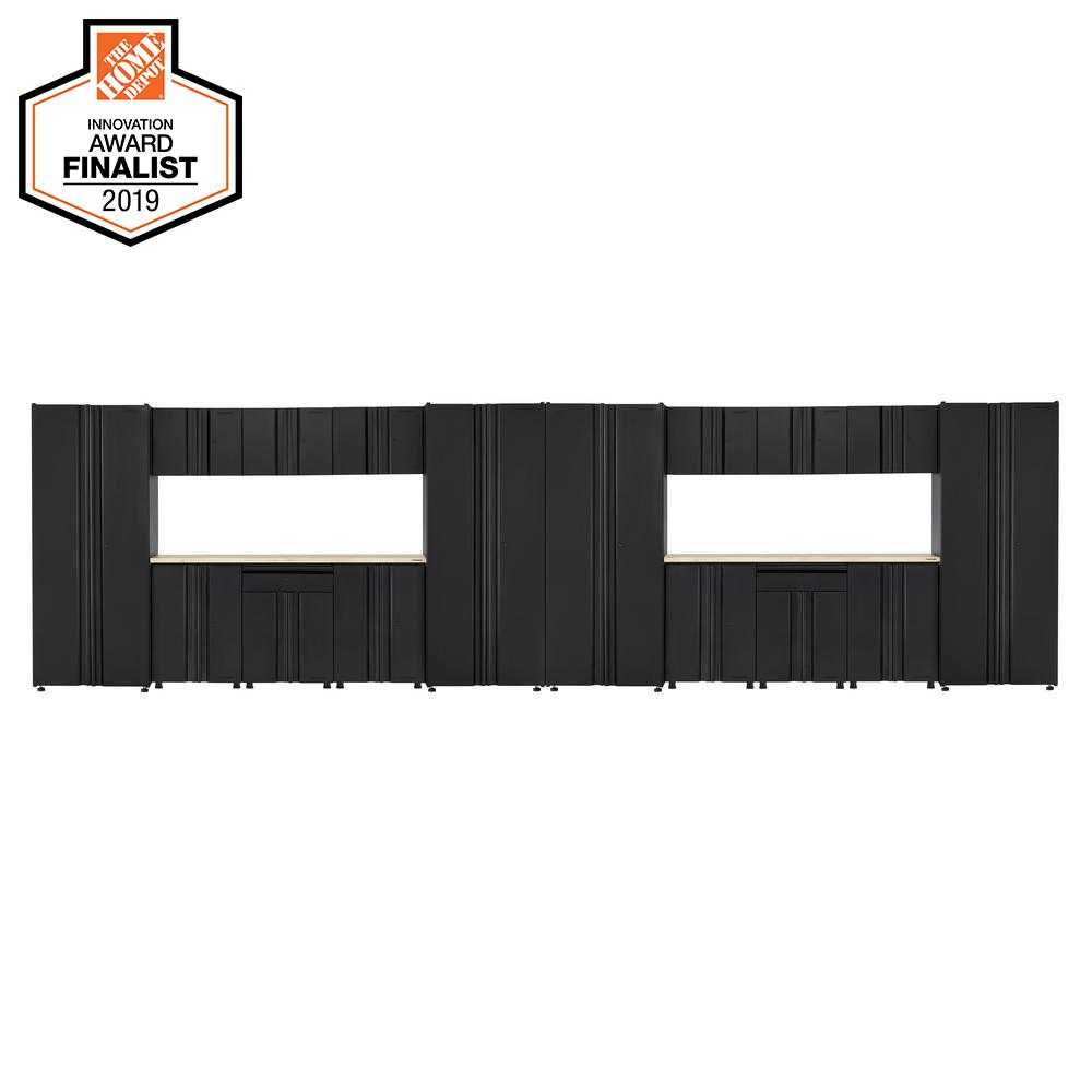 Husky Welded 266 in. W x 75 in. H x 19 in. D Steel Garage Cabinet Set in Black (18-Piece with Solid Wood Work Surface)