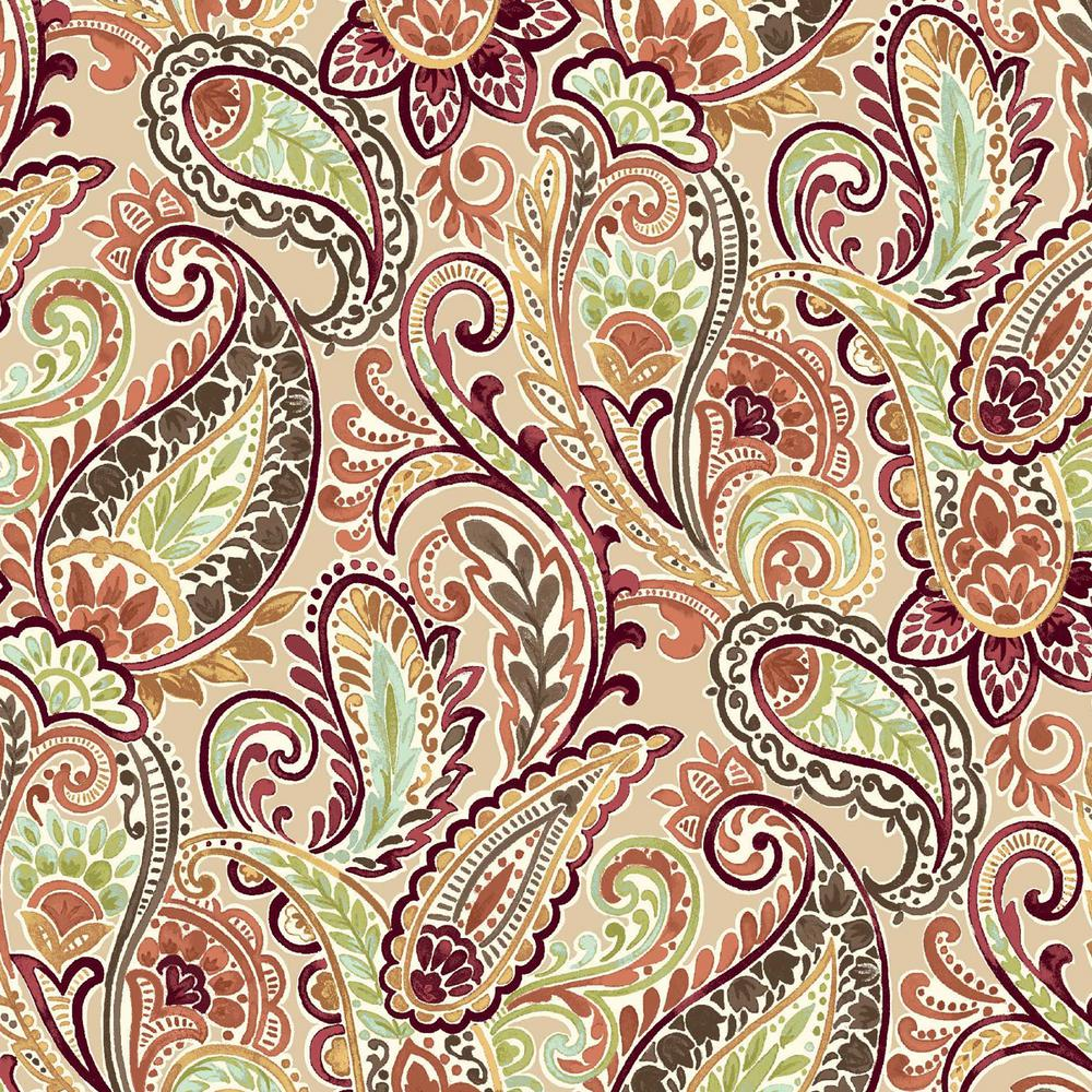 Hampton Bay 20 X 17 Outdoor Dining Chair Cushion In Standard Chili Paisley