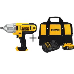 Dewalt 20-Volt Max Lithium-Ion 1/2 inch Cordless High Torque Impact Wrench with Detent Pin with Bonus 5.0 Ah Battery Kit by DEWALT