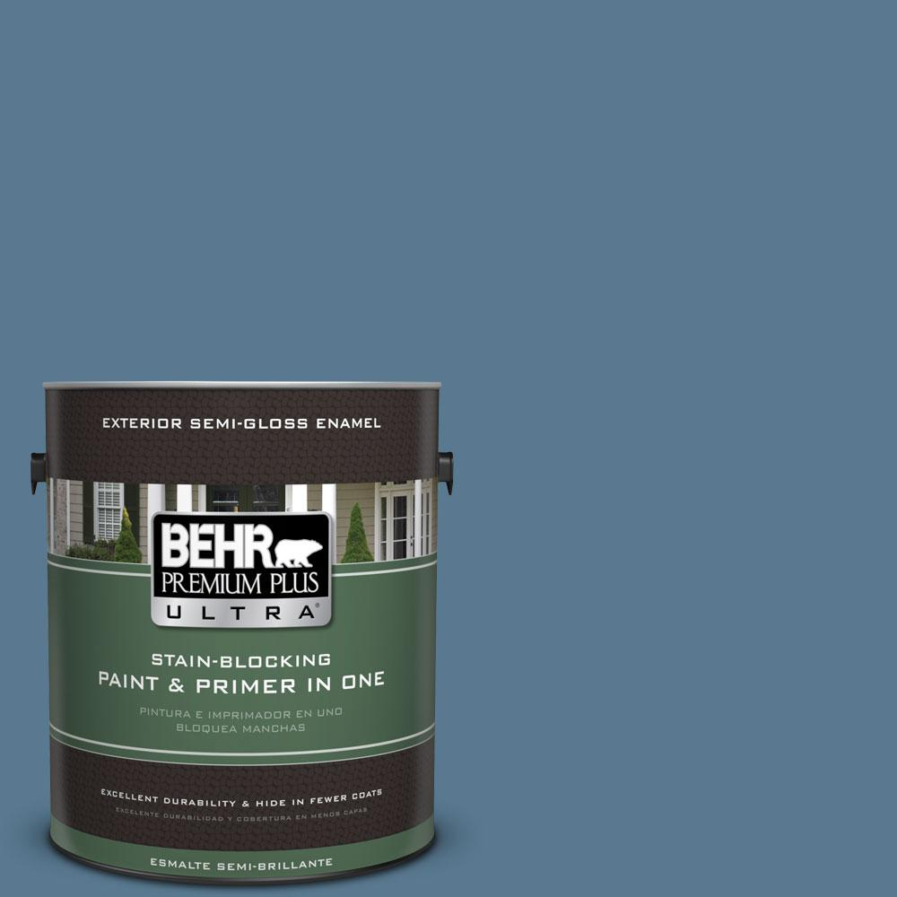 BEHR Premium Plus Ultra 1-gal. #PPU14-3 Cayman Bay Semi-Gloss Enamel Exterior Paint