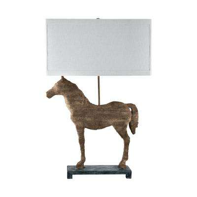 31 in. Carved Horse Table Lamp