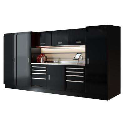 Select Series 75 in. H x 144 in. W x 22 in. D Aluminum Cabinet Set in Black with Stainless Steel Worktop (10-Piece)