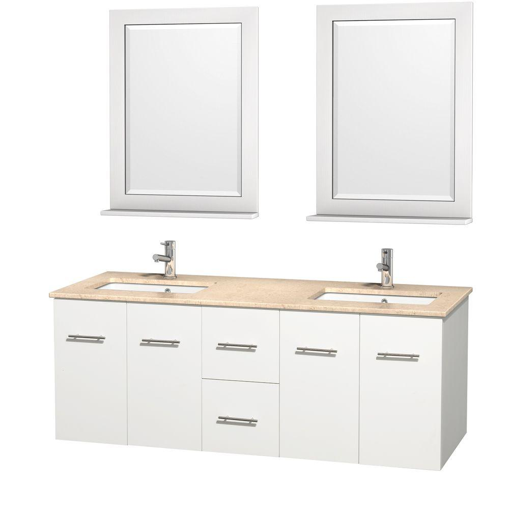 Wyndham Collection Centra 60 in. Double Vanity in White with Marble Vanity Top in Ivory, Square Sink and 24 in. Mirror