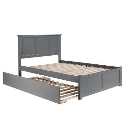 Madison Full Platform Bed with Flat Panel Foot Board and Twin Size Urban Trundle Bed in Grey