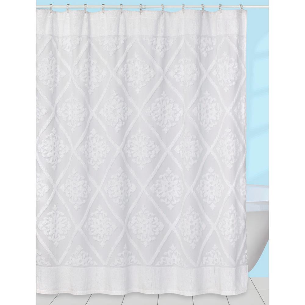 Creative Bath Belle' 70 inch x 72 inch Chenille Cotton Shower Curtain in White by Creative Bath