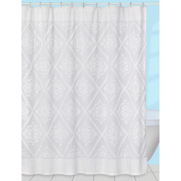Creative Bath Belle' 70 in. x 72 in. Chenille Cotton Shower