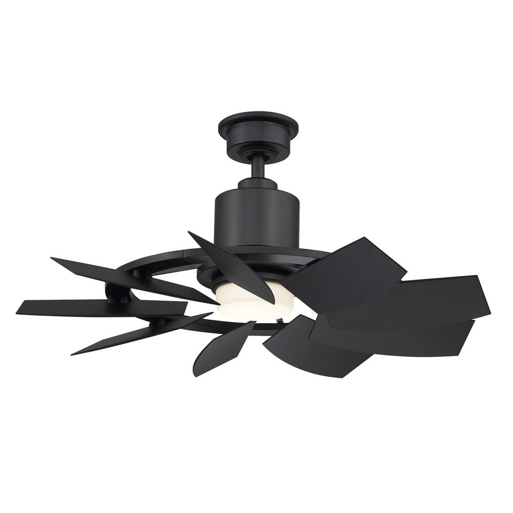 Home Decorators Collection Stonemill36 in. LED Outdoor Matte Black Ceiling Fan with Light