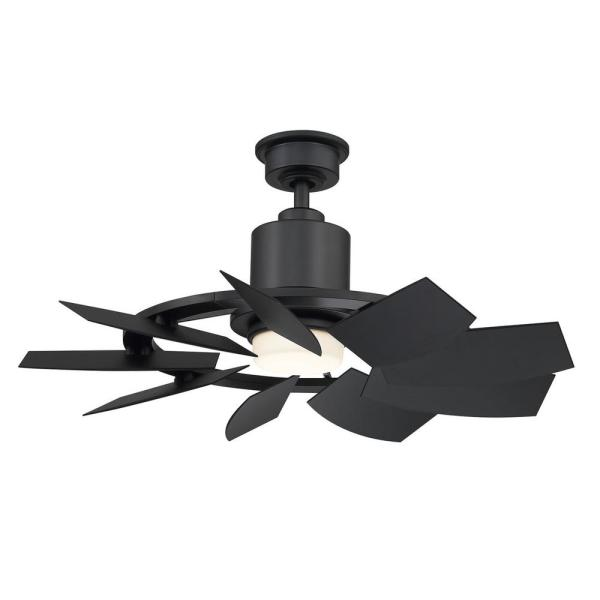 Stonemill 36 in. LED Outdoor Matte Black Ceiling Fan with Light