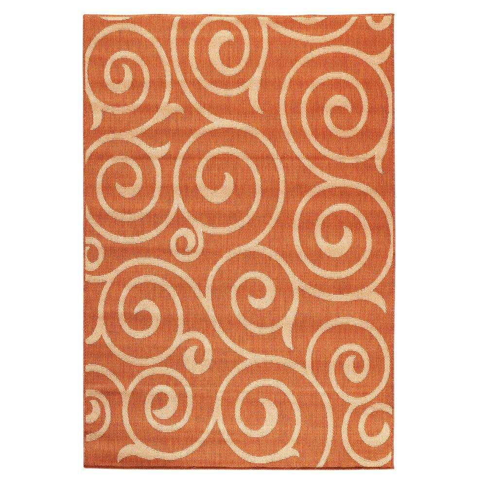 Home Decorators Collection Whirl Terra/Natural 5 ft. 10 in. x 9 ft. 2 in. Area Rug
