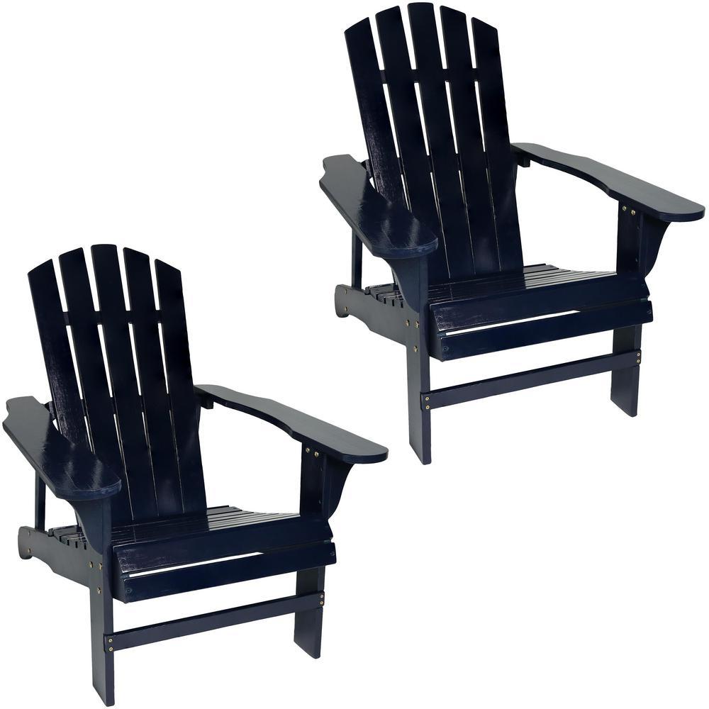 Coastal Bliss Blue Wooden Adirondack Chair (Set of 2)