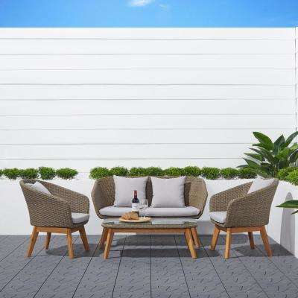 Grayton 4-Piece Wicker Patio Conversation Set with Gray Cushions