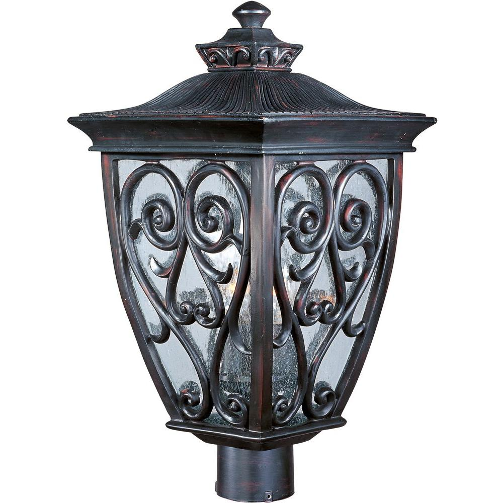 Maxim Lighting Newbury Vivex 3-Light Oriental Bronze Outdoor Pole/Post Mount  sc 1 st  Home Depot & Maxim Lighting Newbury Vivex 3-Light Oriental Bronze Outdoor Pole ... azcodes.com