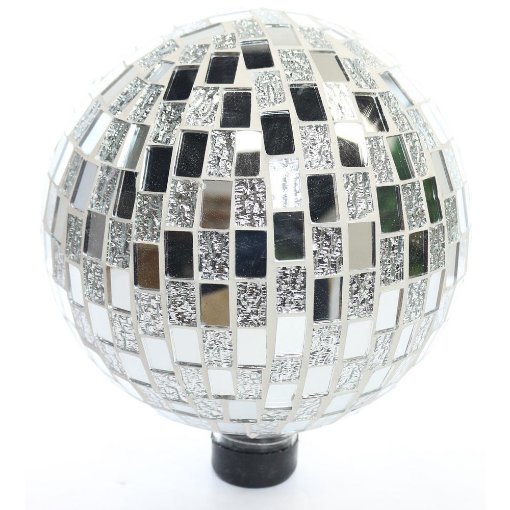 Alpine Mosaic Silver Gazing Ball by Alpine