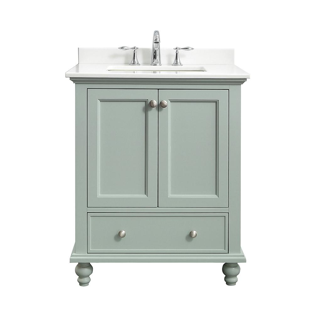Home Decorators Collection Orillia 30 in. W x 22 in. D Vanity in Misty Latte with Marble Vanity Top in White with White Sink