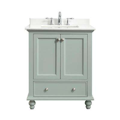 Orillia 30 in. W x 22 in. D Vanity in Misty Latte with Marble Vanity Top in White with White Sink