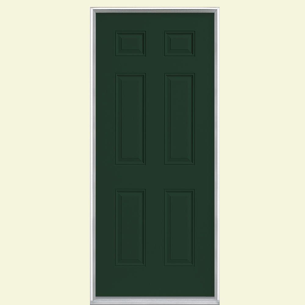 Masonite 36 in. x 80 in. 6-Panel Conifer Right-Hand Inswing Painted Smooth Fiberglass Prehung Front Door, Vinyl Frame