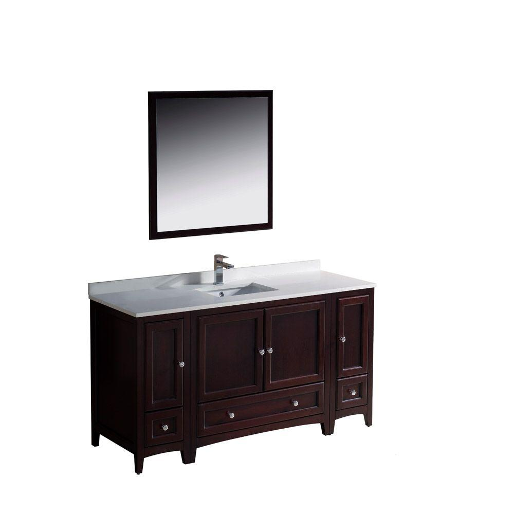 Fresca Oxford 60 in. Vanity in Mahogany with Ceramic Vanity Top in White with White Basin and Mirror