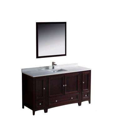 Oxford 60 in. Vanity in Mahogany with Ceramic Vanity Top in White with White Basin and Mirror