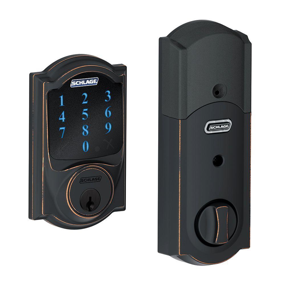 Camelot Aged Bronze Connect Smart Door Lock with Alarm
