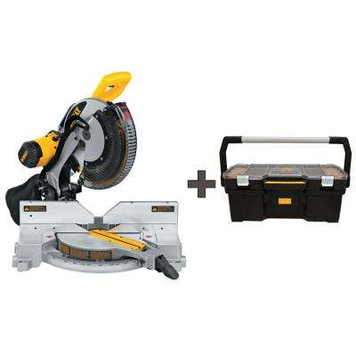 15 Amp 12 in. Double Bevel Compound Miter Saw with Free 24 in. Tote with Organizer