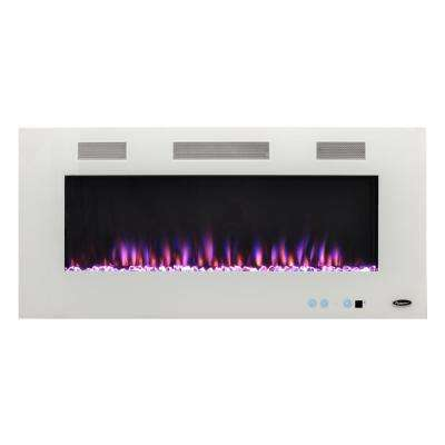 Premium 50 in. Wall-Mount Electric Fireplace in White