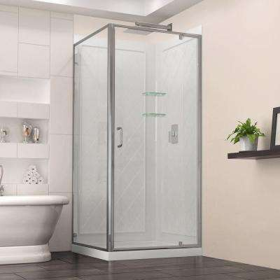 Flex 32 in. x 32 in. x 76.75 in. Framed Corner Shower Kit in Chrome with Shower Base in White