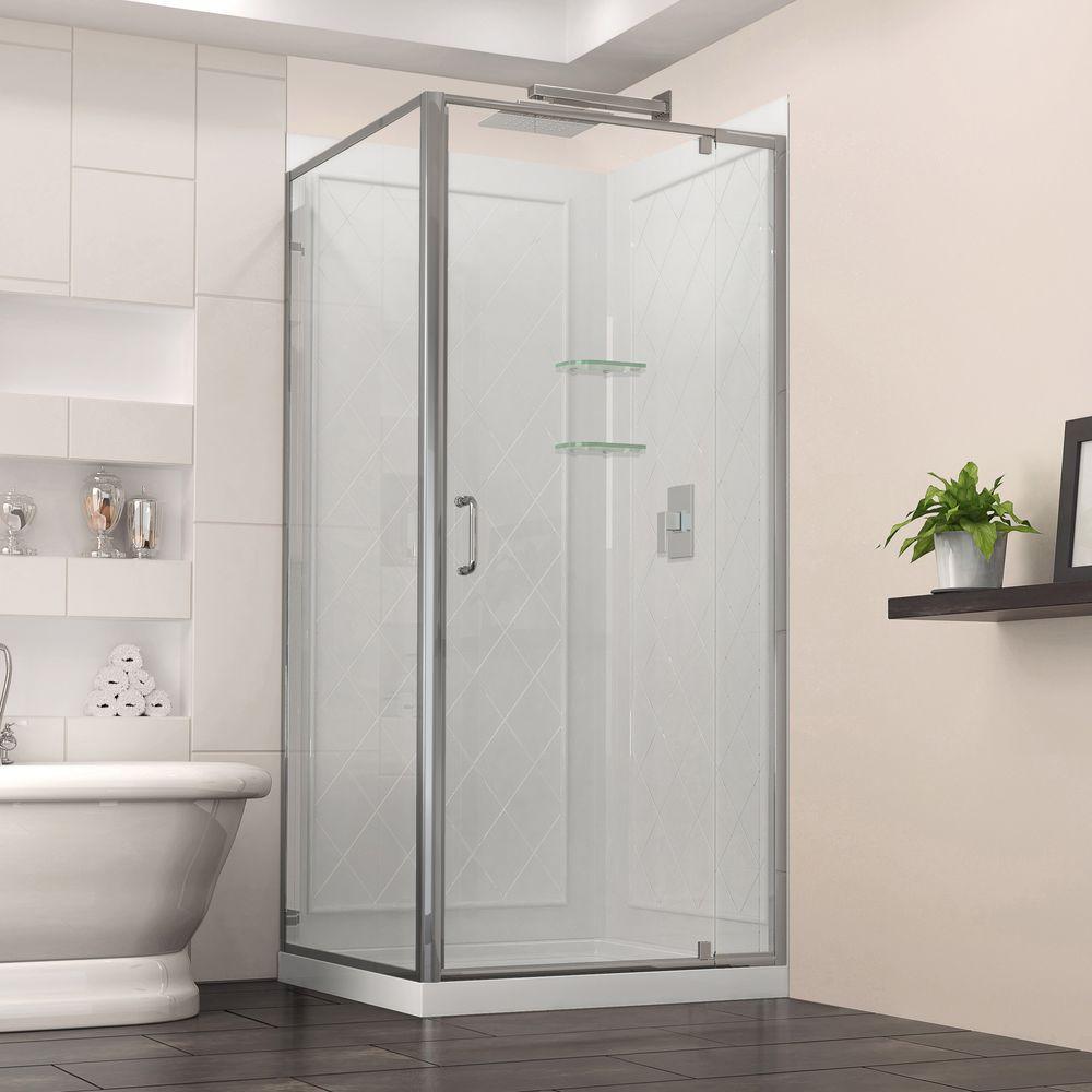 Flex 36 in. x 36 in. x 76.75 in. Framed Corner Shower Kit in Chrome with Shower Base in White