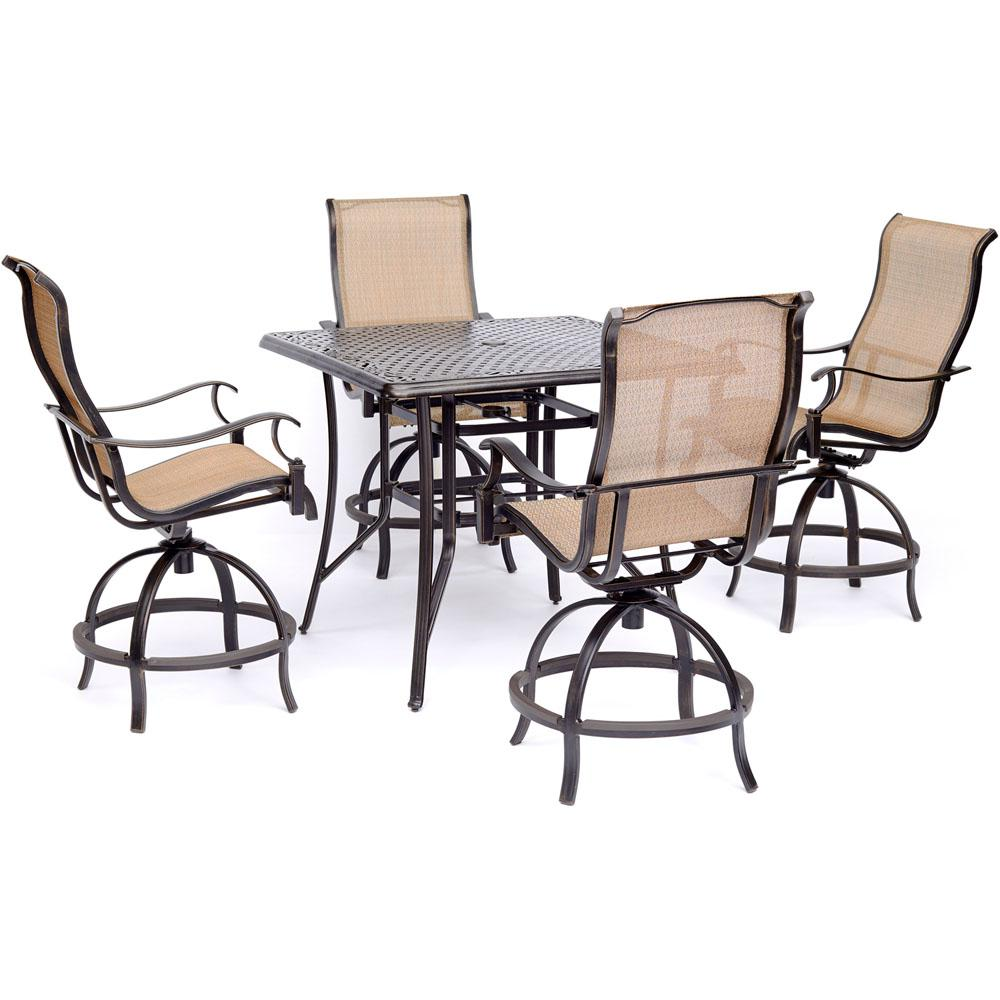 Superbe Hanover Manor 5 Piece High Dining Set With 4 Sling Swivel Chairs And Square