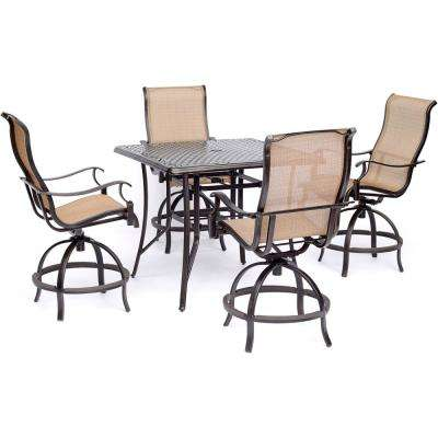 Manor 5-Piece High-Dining Set with 4 Sling Swivel Chairs and Square Cast-Top Table