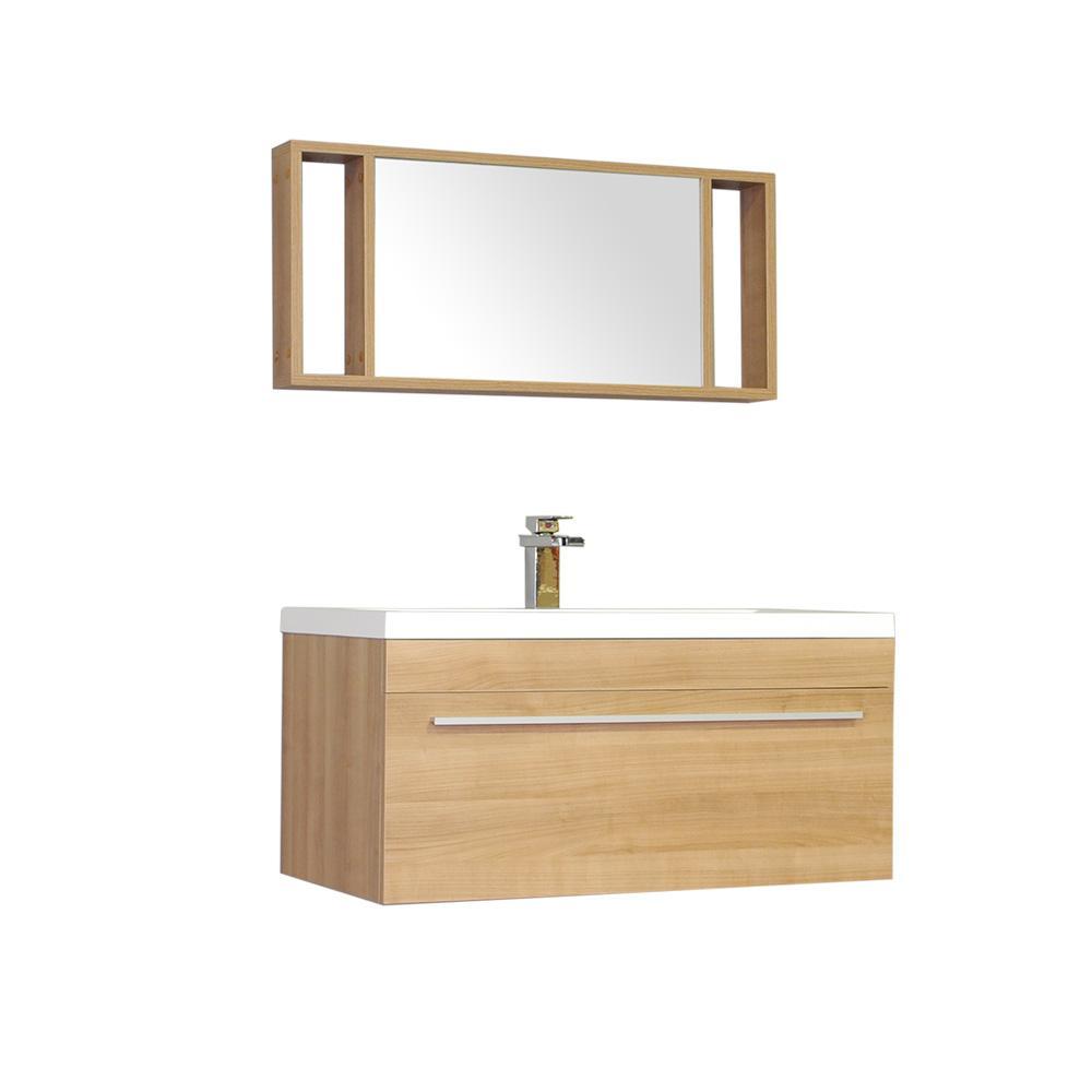 The Modern 35.25 in. W x 18.75 in. D Bath Vanity in Light Oak w/ Acrylic Vanity Top in White w/ White Basin and Mirror