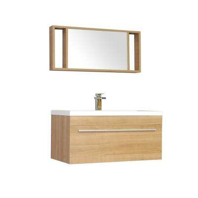 The Modern 35.25 in. W x 18.75 in. D Bath Vanity in Light Oak w/ Acrylic Vanity Top in White w/ White Basin and Mirror