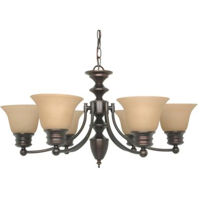 6-Light Mahogany Bronze Chandelier with Champagne Linen Washed Glass Shade